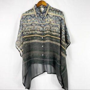 DA-NANG Flowy Printed Silk Blouse NWT in Size XS/S